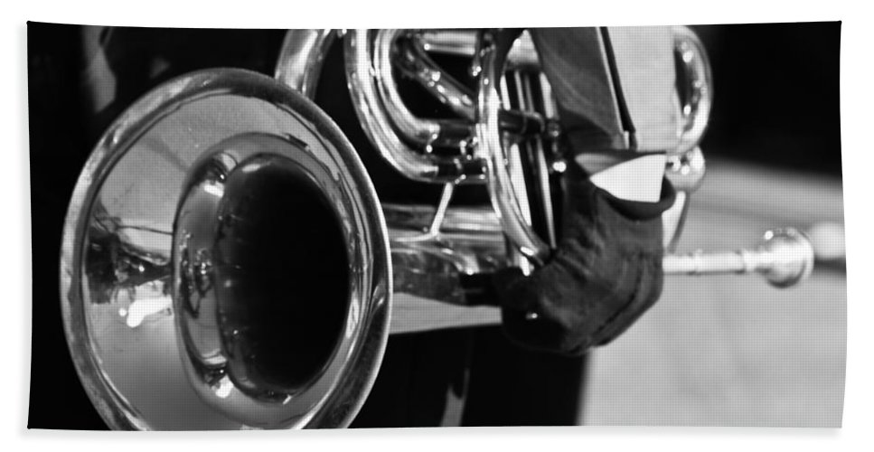 Cornet Bath Sheet featuring the photograph Marching Band Horn Bw by James BO Insogna