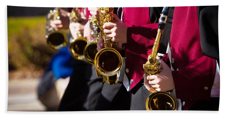 Saxophone Bath Sheet featuring the photograph Marching Band Saxophones by James BO Insogna