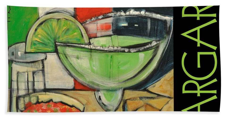Beverage Bath Sheet featuring the painting Margarita Poster by Tim Nyberg