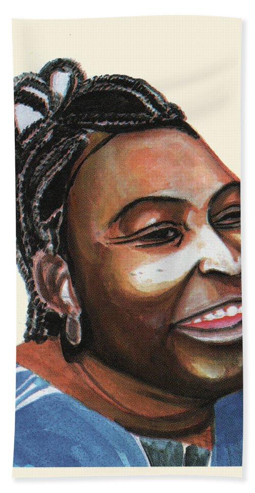 Portraits Bath Sheet featuring the painting Mariama Ba by Emmanuel Baliyanga