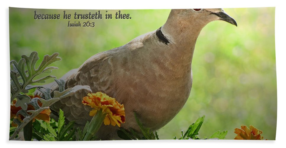 Nature Bath Sheet featuring the photograph Marigold Dove With Verse by Debbie Portwood