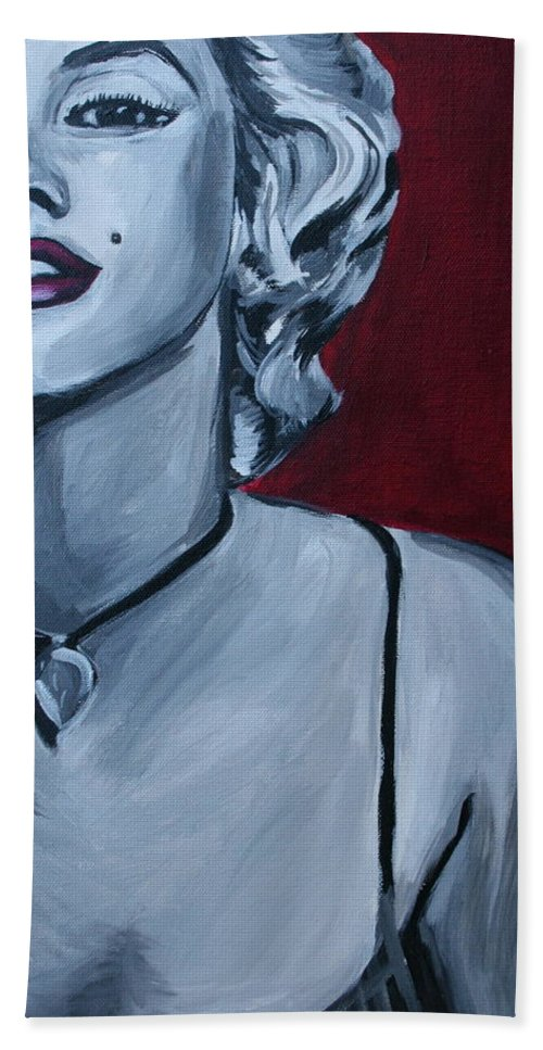 Marilyn Monroe Bath Towel featuring the painting Marilyn Monroe by Kate Fortin
