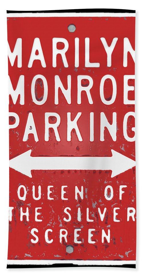 Marilyn Bath Sheet featuring the photograph Marilyn Monroe Parking by David Pringle