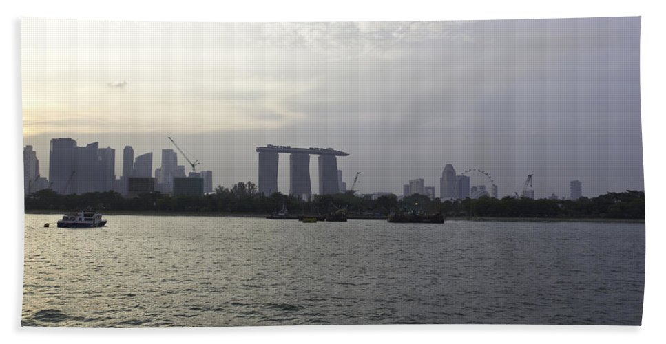 Admiral Cheng Ho Cruise Hand Towel featuring the photograph Marina Bay Sands And Flyer Along With Singapore Skyline From The by Ashish Agarwal