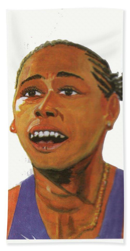 Portraits Bath Sheet featuring the painting Marion Jones by Emmanuel Baliyanga