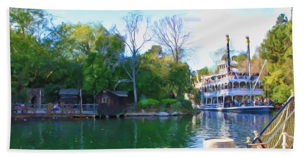Disneyland Bath Sheet featuring the photograph Mark Twain Riverboat At Disneyland by Heidi Smith