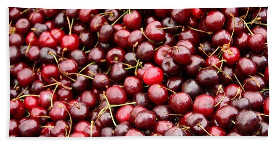 Cherries Bath Sheet featuring the photograph Market Cherries by Carol Groenen