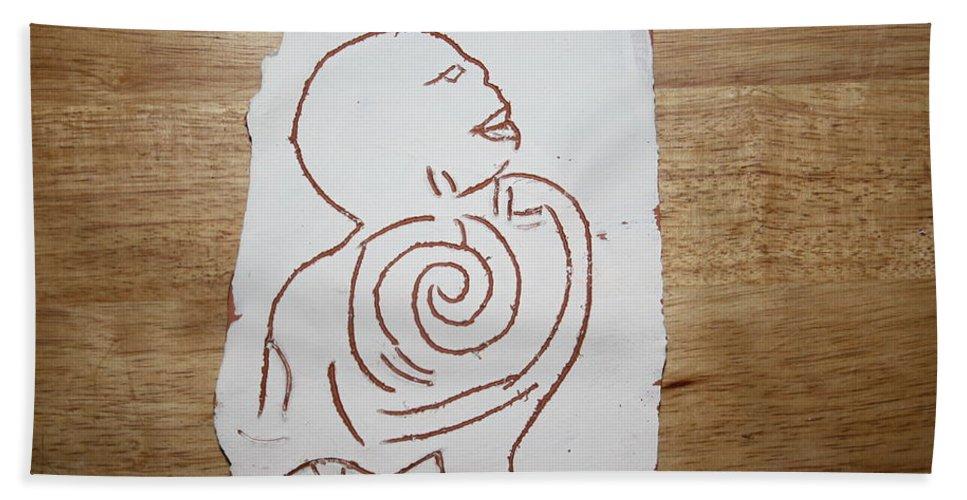 Jesus Hand Towel featuring the ceramic art Market Seller 6 by Gloria Ssali