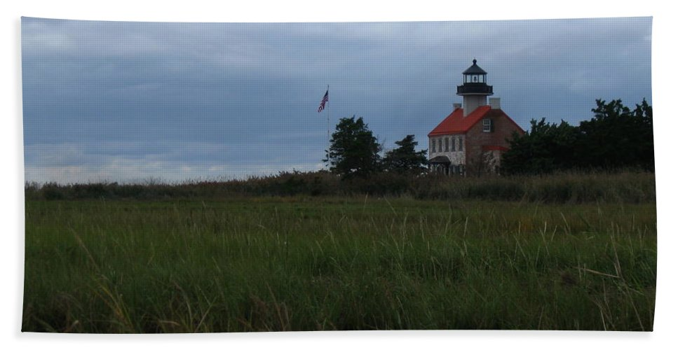 East Point Lighthouse Bath Sheet featuring the photograph Marking The Mouth Of The River by Nancy Patterson
