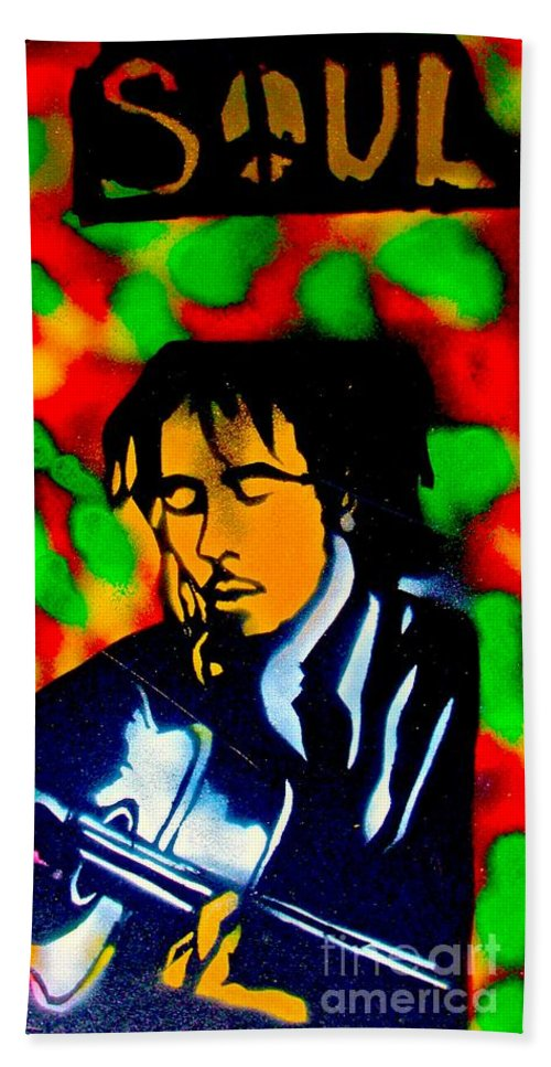 Hip Hop Bath Sheet featuring the painting Marley Rasta Guitar by Tony B Conscious