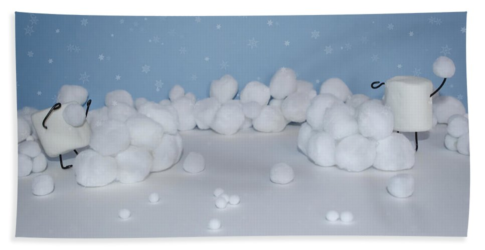 Snowball Bath Sheet featuring the photograph Marshmallow Fight by Heather Applegate