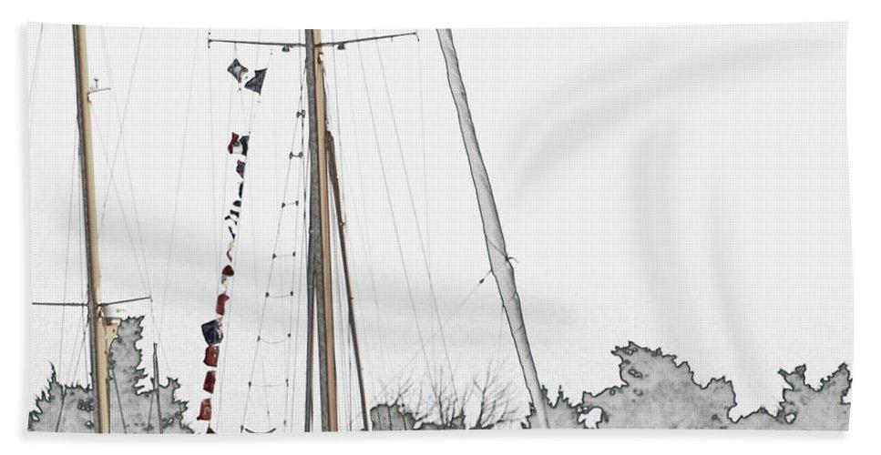 Sail Hand Towel featuring the digital art Mast Head by Hannah Breidenbach