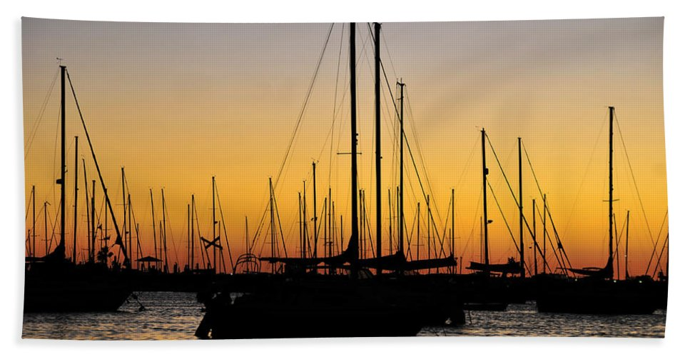 Fine Art Photography Bath Sheet featuring the photograph Masts At Sunset by David Lee Thompson