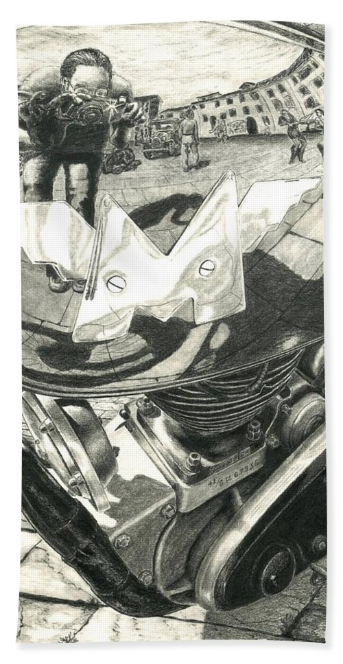 Matchless Motorcycle Hand Towel featuring the drawing Matchless Moto by Norman Bean