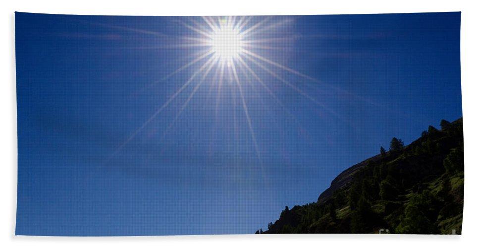 Mountain Bath Sheet featuring the photograph Matterhorn With Sunbeam by Mats Silvan