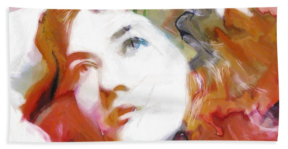 Abstract Painting Portrait Expressionism Impressionism Face Female Beauty Silent Film Movie Actress Woman Girl Color Colorful Vintage Maude Fealy Hand Towel featuring the painting Maude by Steve K