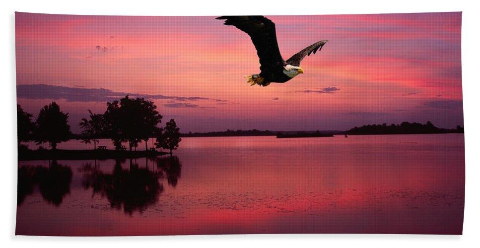 Eagle At Mauve Sundown Hand Towel featuring the photograph Mauve Sundown Eagle by Randall Branham