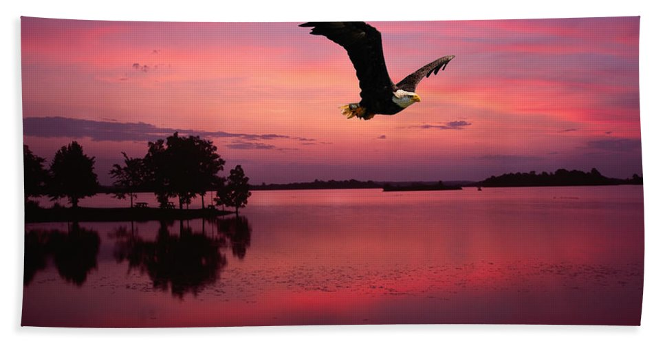 Eagle At Mauve Sundown Bath Sheet featuring the photograph Mauve Sundown Eagle by Randall Branham