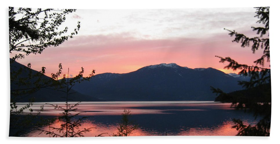 Kootenay Lake Hand Towel featuring the photograph May Sunset On Kootenay Lake by Leone Lund