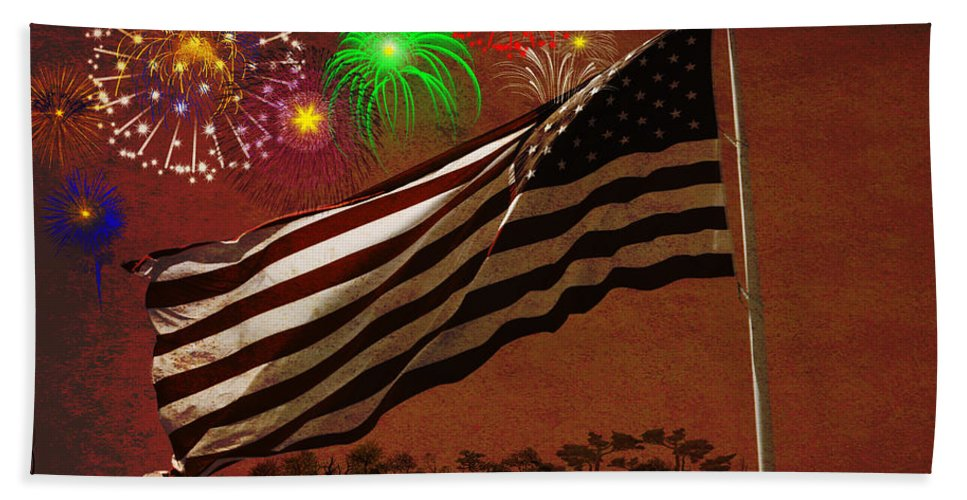 Fireworks Hand Towel featuring the photograph May Your Colors Run Deep And Far by Teri Schuster