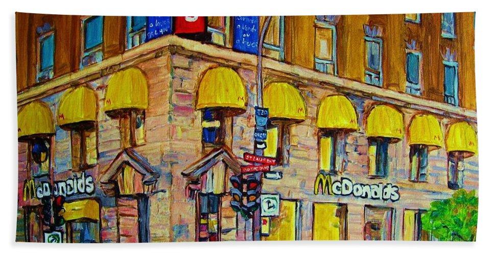Mcdonald Restaurant Montreal Bath Sheet featuring the painting Mcdonald by Carole Spandau