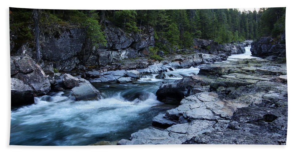 Mcdonald River Glacier National Park Usa North America River Stream Fast Flowing Rocks Bridge Stone Trees Hdr Bath Sheet featuring the photograph Mcdonald River Glacier National Park - 3 by Paul Cannon