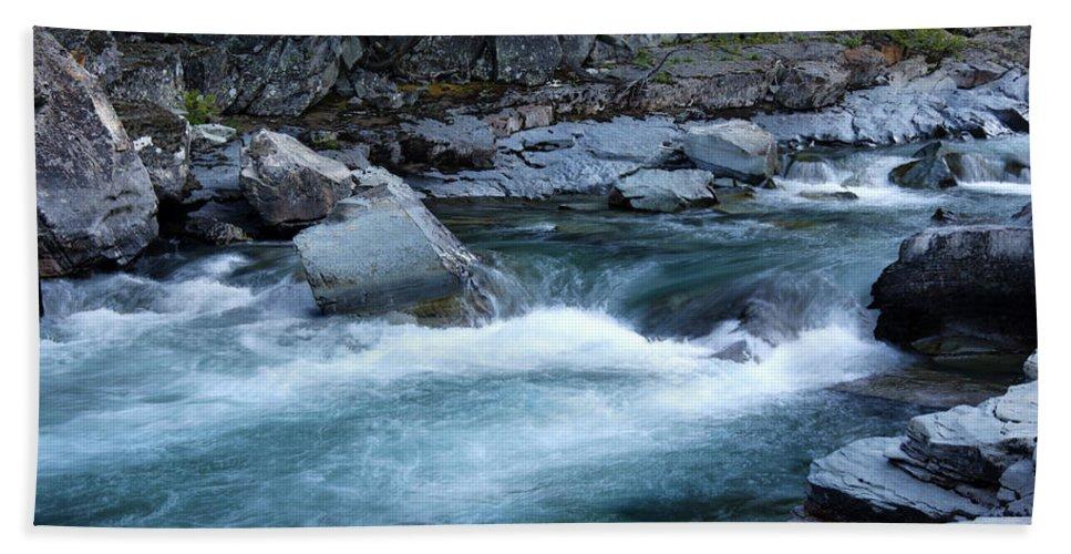 Mcdonald River Glacier National Park Usa North America River Stream Fast Flowing Rocks Bridge Stone Trees Hdr Bath Sheet featuring the photograph Mcdonald River Glacier National Park - 4 by Paul Cannon