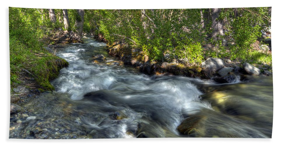 Creek Bath Sheet featuring the photograph Mcgee Creek California by Dianne Phelps