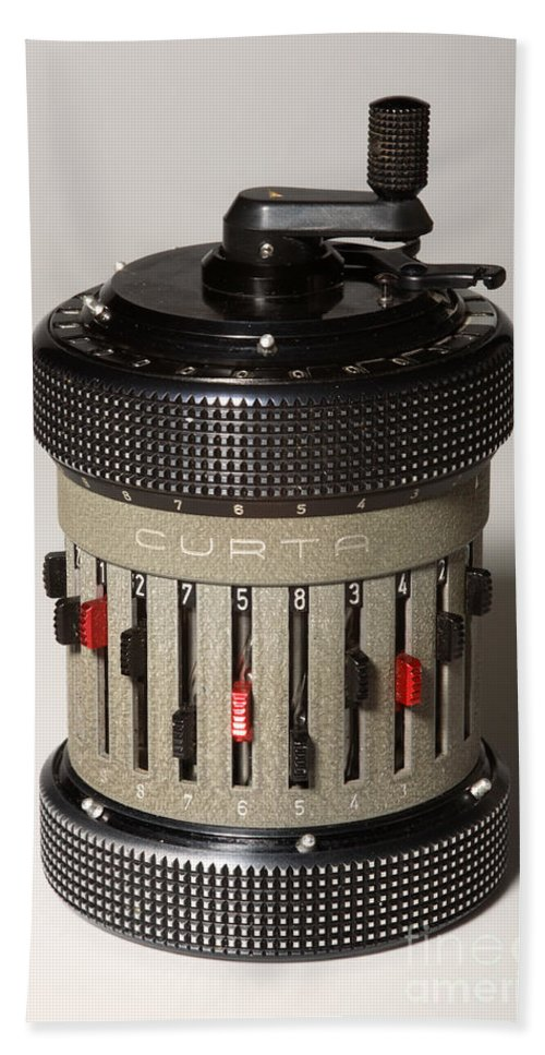 Curta Hand Towel featuring the photograph Mechanical Calculator by Ted Kinsman
