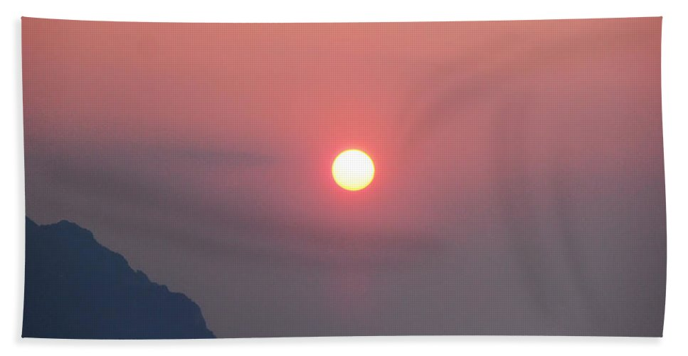 Medaterainian Sunset Hand Towel featuring the photograph Medaterainian Sunset by Bill Cannon