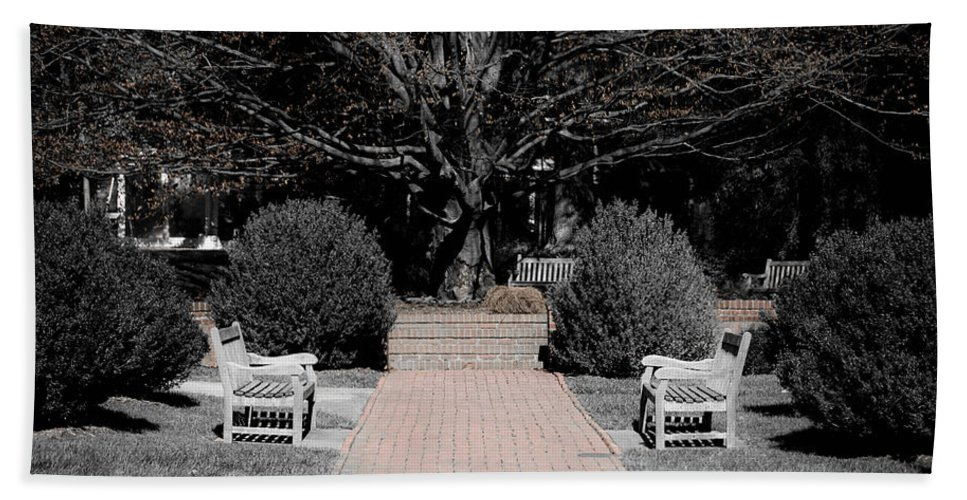Bench Bath Sheet featuring the photograph Meditation Area by Trish Tritz