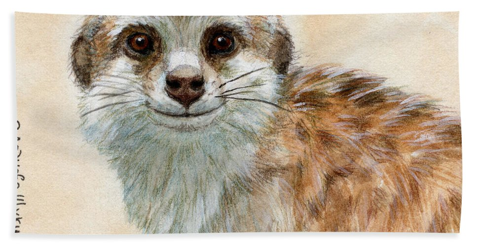 Suricata Bath Sheet featuring the painting Meerkat 762 by Svetlana Ledneva-Schukina