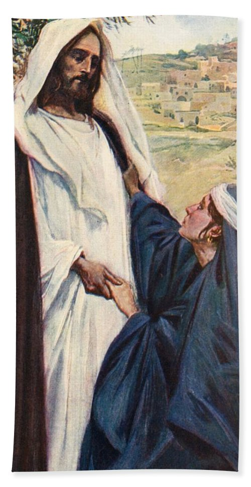 Meeting of Jesus and Martha Bath Towel for Sale by Corwin Knapp Linson