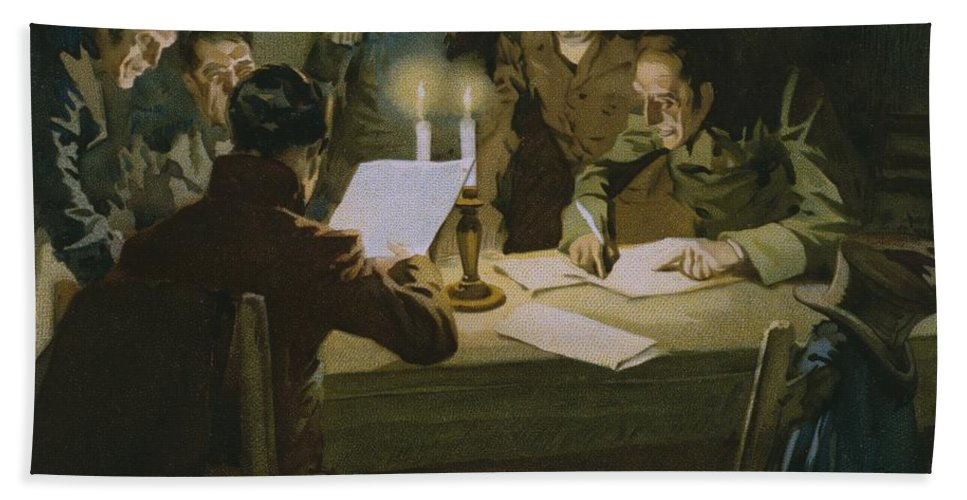 Male; Group; Partisan; Cell; Nationalist Organisation; Italian Unification; Candlelight; Candles; Candlestick; Reading; Nationalism; Society; Freemasonry; Carbonaro; Plotting; Conspirators; Conspirator; Conspiring Bath Sheet featuring the painting Meeting Of The First Partisans Resisting The Occupiers by Italian School