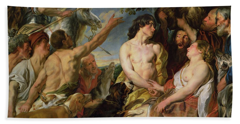Virgin; Huntress; Lovers; Tragedy; Calydonian Wild Boar Hunt; Hunting Dogs; Meleagre; Atalante Bath Sheet featuring the painting Meleager And Atalanta by Jacob Jordaens