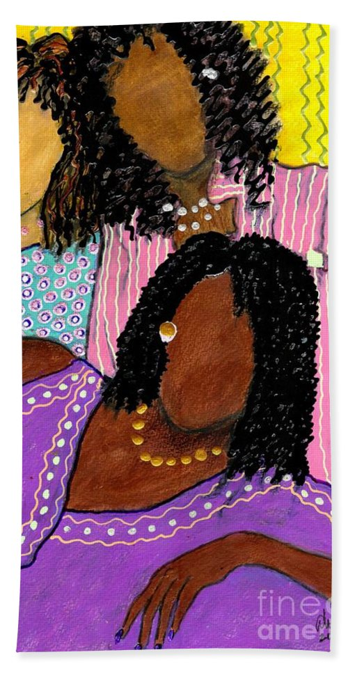 Greeting Cards Bath Sheet featuring the painting Mellow Sistahs by Angela L Walker