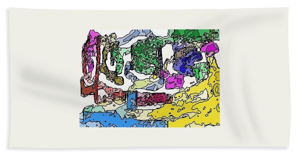 Yellow Hand Towel featuring the digital art Melting Troubles by Alec Drake