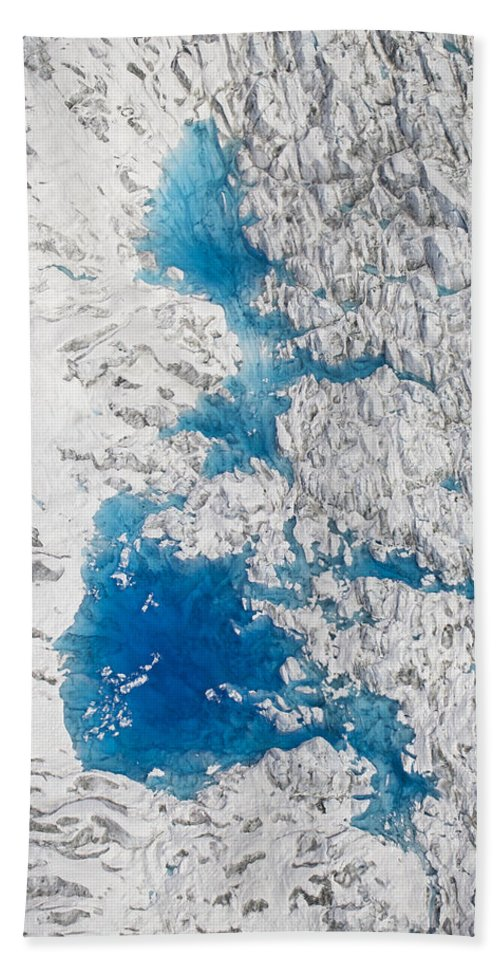 Mp Hand Towel featuring the photograph Meltwater Lakes On Hubbard Glacier by Matthias Breiter