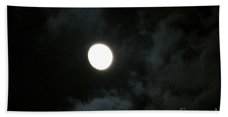 Menacing Moonlight Hand Towel featuring the photograph Menacing Moonlight by Maria Urso
