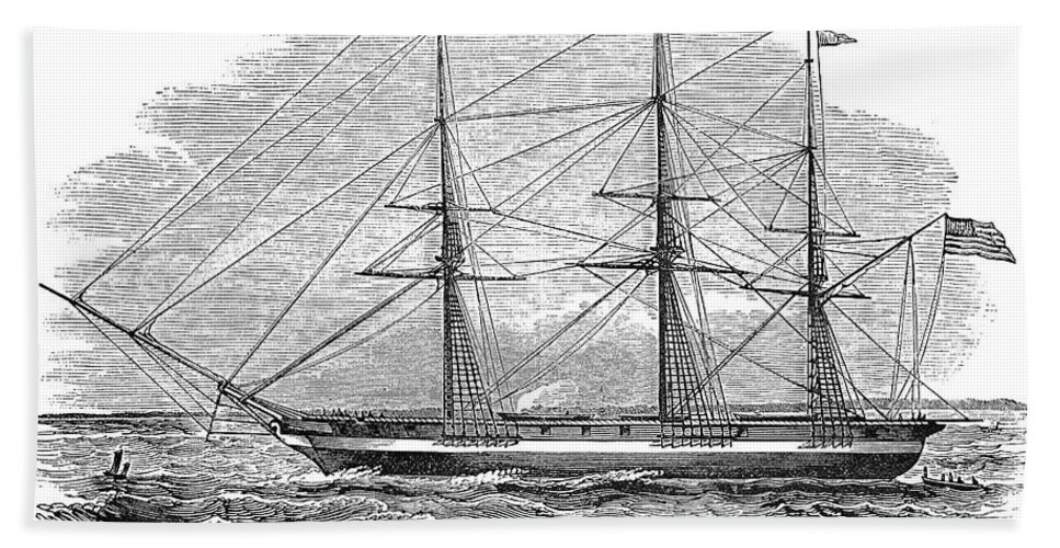 1844 Hand Towel featuring the photograph Merchant Steamship, 1844 by Granger