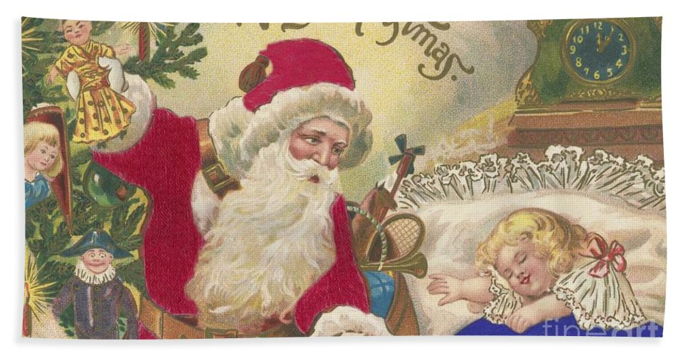Christmas Card Hand Towel featuring the painting Merry Christmas by American School