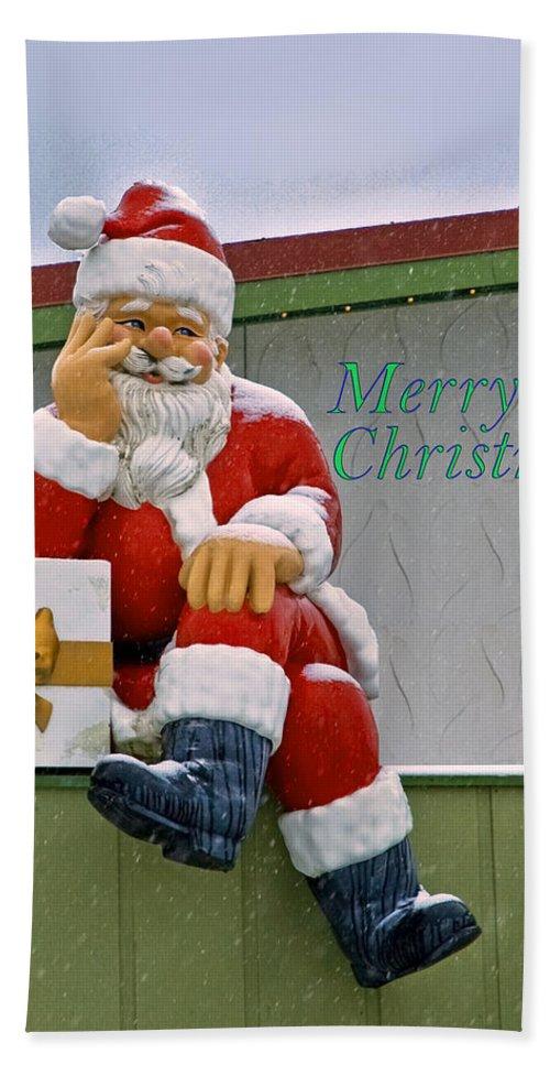 Bronner's Bath Sheet featuring the photograph Merry Christmas Santa by LeeAnn McLaneGoetz McLaneGoetzStudioLLCcom