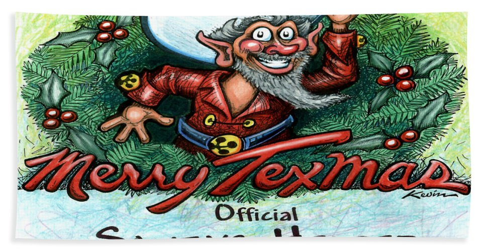 Merry Texmas Bath Sheet featuring the digital art Merry Texmas by Kevin Middleton