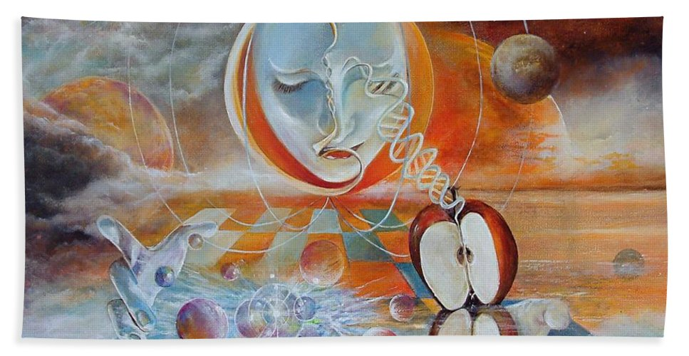 Fantasy Bath Sheet featuring the painting Meru by Penny Golledge