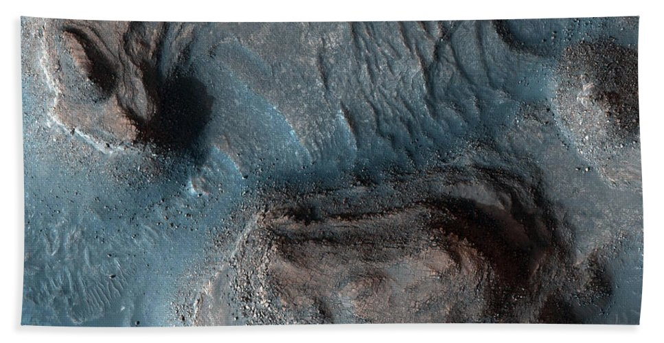 Blue Bath Sheet featuring the photograph Mesas In The Nilosyrtis Mensae Region by Stocktrek Images