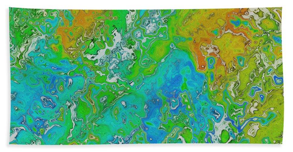 Digital Art Bath Sheet featuring the digital art Messy Thick Paint by Debbie Portwood