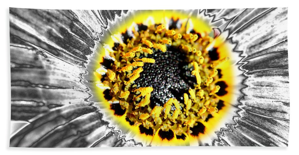 Gazania Flower Bath Sheet featuring the photograph Metalised Gazania Flower by Carole-Anne Fooks
