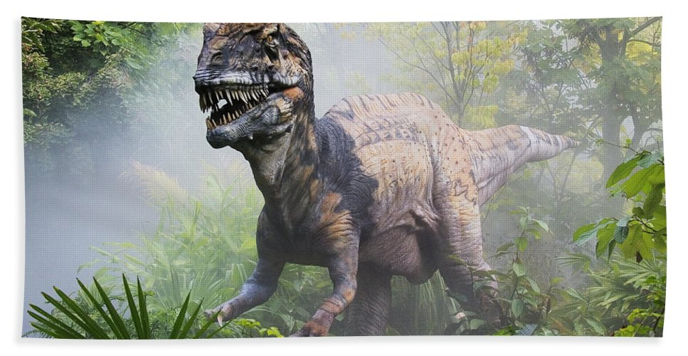 Dinosaur Hand Towel featuring the photograph Metriacanthosaurus by David Davis and Photo Researchers