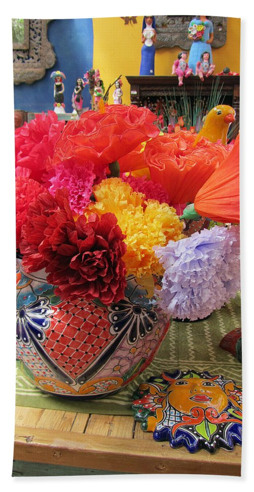 Mexican Paper Flowers And Talavera Pottery Bath Towel For Sale By