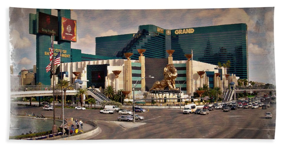 Las Hand Towel featuring the photograph Mgm Grand - Impressions by Ricky Barnard